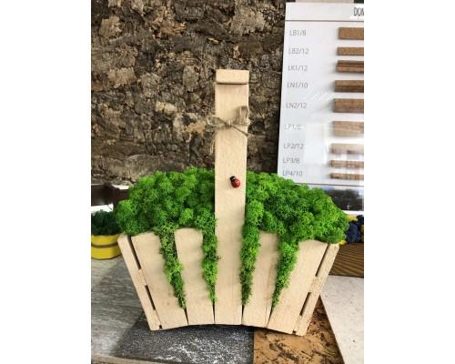 Деревянное кашпо со стабилизированным мхом Корзина