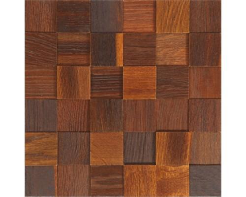 Мозаика деревянная 3D серия «квадрат» Дуб thermo