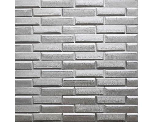 Стеновые 3D панели на самоклейке под кладку №34 серебряная