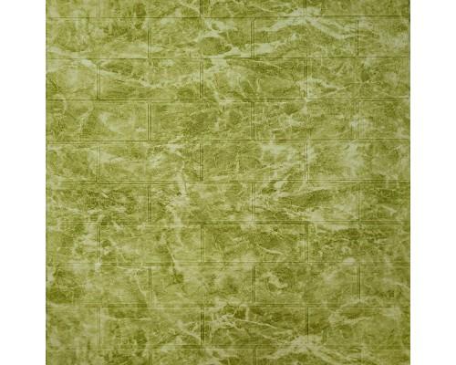Стеновые 3D панели на самоклейке под кирпич из мрамора №69 оливковый