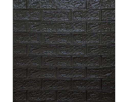 Стеновые 3D панели на самоклейке под кирпич №19 черный