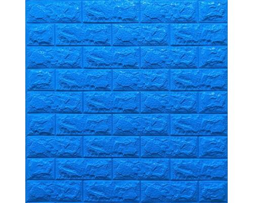 Стеновые 3D панели на самоклейке под кирпич №3/1 синий