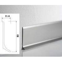 Плинтус WT Metal line алюминиевый накладной 80мм